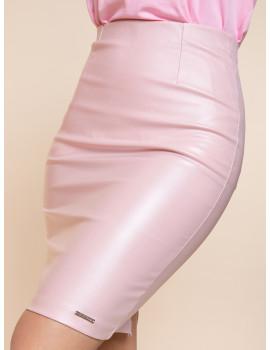 Faux Leather Pencil Skirt - Powder