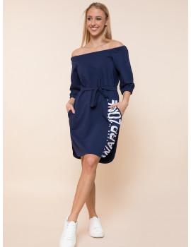 Ariana Cotton Dress with Pockets - Navy