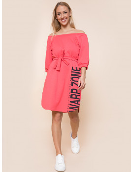 Ariana Cotton Dress with Pockets - Coral