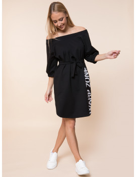 Ariana Cotton Dress with Pockets - Black