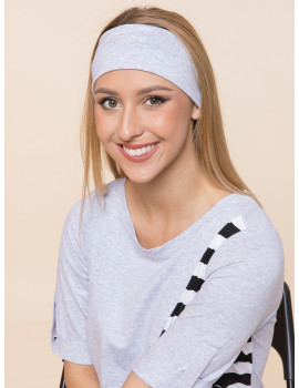 Embroidered Headband - Grey
