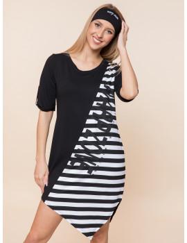 Vani Tunic - Black Wide Stripes