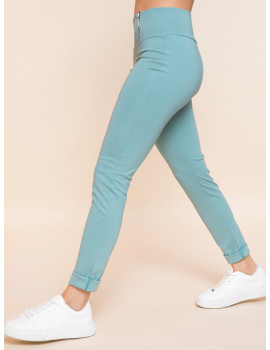 High Waisted Trousers with Zips - Mint