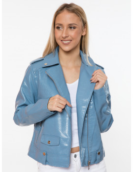 Holly Faux Leather Jacket - Blue