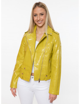 Holly Faux Leather Jacket - Lime