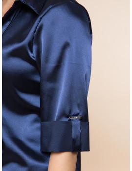 Sammy Satin Shirt - Navy