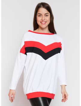 Lily Loose Top - White-Red