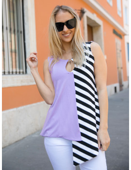 Amelia Striped Top - Lavender