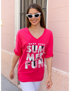 Summer T-Sleeve Top - Pink