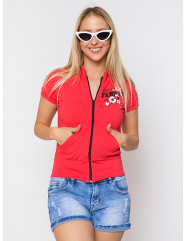 Lily Zip Up Top - Red