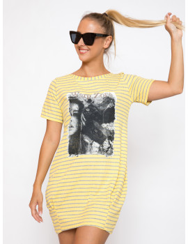 Ribbed Dress - Yellow Striped