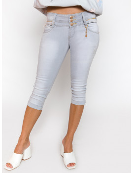 Grey Embroidered Jeans