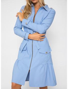 Elastic Zip Front Dress-Coat - Ice Blue