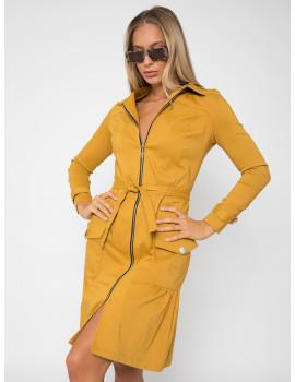 Elastic Zip Front Dress-Coat - Ochre
