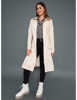 Elastic Zip Front Dress-Coat - Beige