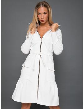 Elastic Zip Front Dress-Coat - White