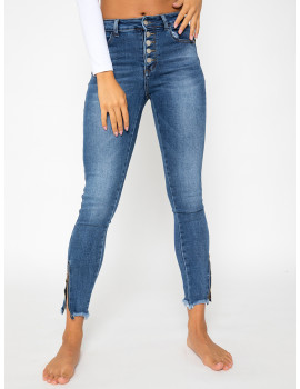 Button Fly Skinny Jeans with Zipper