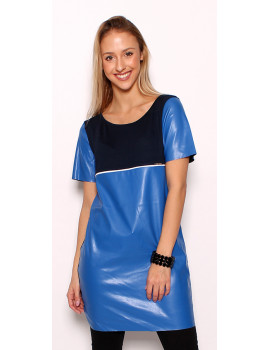 Faux Leather Tunic - Blue