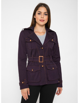 Belted Coat with Pockets - Aubergine