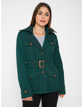 Belted Coat with Pockets - Dark Green