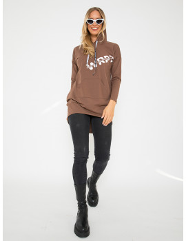 Cotton Hoodie with Pockets - Cinnamon