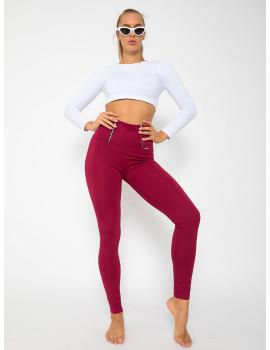 Elastic Punto Trousers with Zips - Burgundy