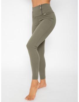 Elastic Punto Trousers with Zips - Khaki