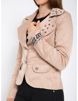 Studded Jacket with Collar - Cappuccino