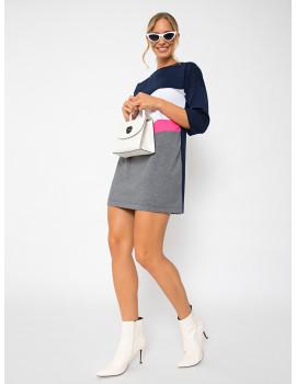 Tricolour Punto Dress - Navy-Pink