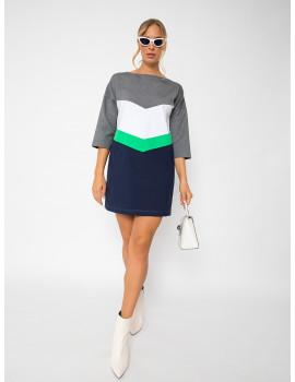 Tricolour Punto Dress - Navy-Green