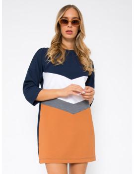 Tricolour Punto Dress - Ochre