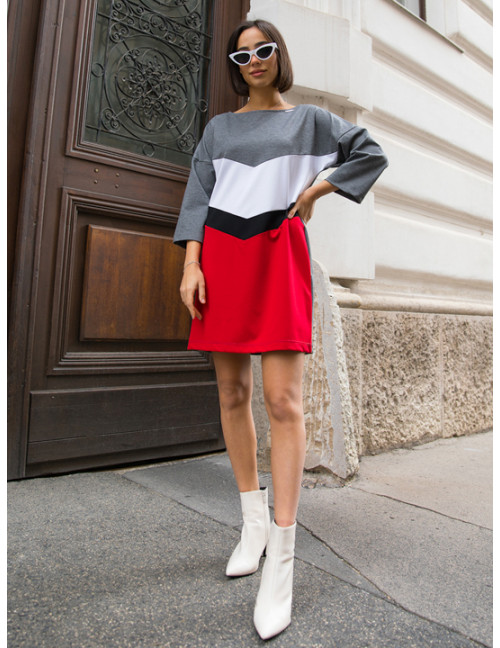 Tricolour Punto Dress - Red