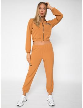 Sporty Zipped Top - Camel