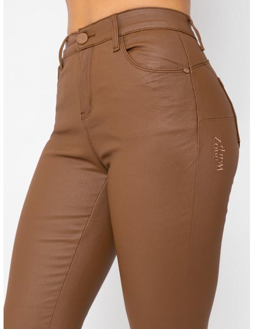Chiara Faux Leather Trousers - Brown
