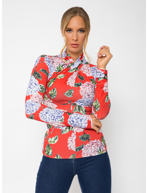 Long Sleeve Floral Top - Red