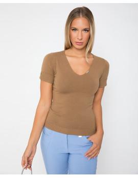 Short Sleeve Knit Top - Camel