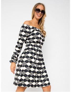 Off Shoulder Dress - Black-White