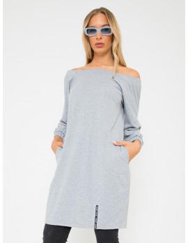 Ribbed Off Shoulder Dress - Grey