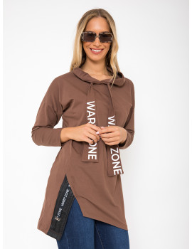 Cotton Hoodie with Quilted Detail - Cinnamon
