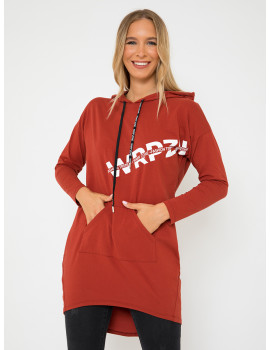 Cotton Hoodie with Pockets - Chilli