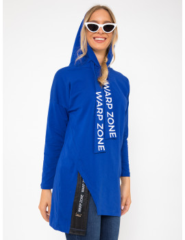 Cotton Hoodie with Quilted Detail - Royal