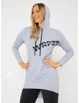 Cotton Hoodie with Pockets - Grey