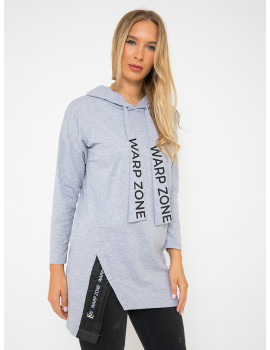 Cotton Hoodie with Quilted Detail - Grey
