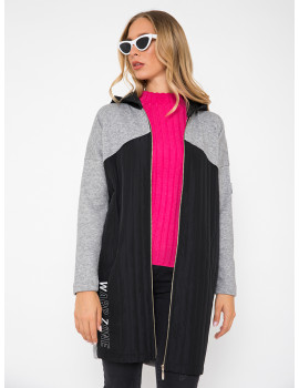 Knit Vest with Quilted Detail - Grey