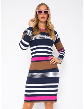 Long Sleeve Dress - Pink-Navy