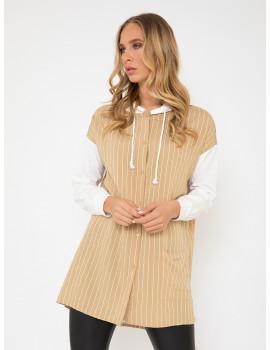 Oversized Striped Shirt Hoodie - Beige