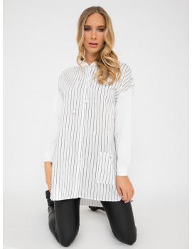 Oversized Striped Shirt Hoodie - White