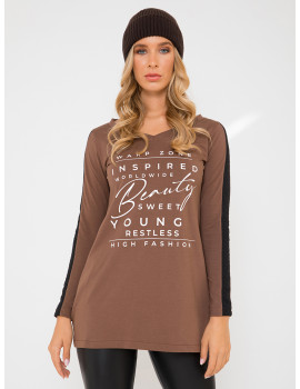 V-neck Cotton Top with Jacquard Detail - Cinnamon