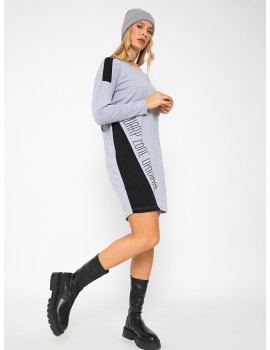 Loose Cotton Top with Jacquard Detail - Grey