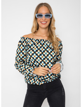 Off Shoulder Blouse - Black and Turqoise